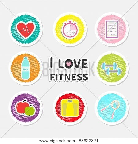 I Love Fitness Round Icon Set Isolated Timer Whater, Dumbbell, Apple, Jumping Rope, Scale, Note Hear