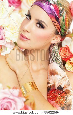 Woman In Flowers.