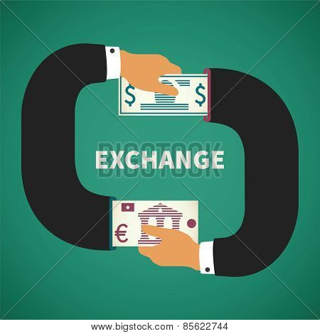 Vector Concept Of Currency Exchange Process