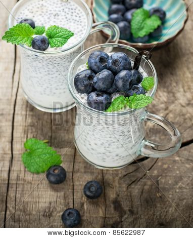 Chia seed pudding with blueberries