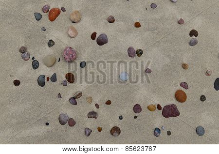 Sandy beach with small pebbles