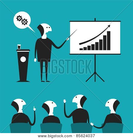 Business Presentation Vector Concept In Flat Cartoon Style