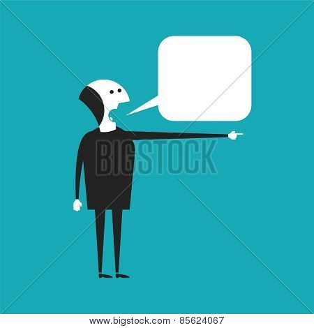 Speaking Businessman Vector Concept In Flat Cartoon Style