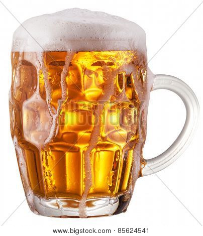 Mug of beer on white background. File contains clipping paths.