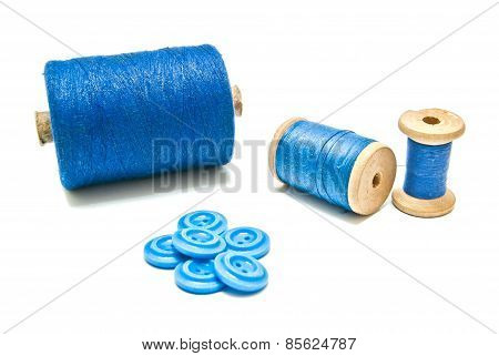 Spools Of Thread And Plastic Buttons