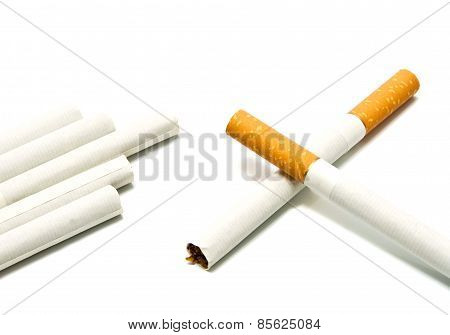 Cigarettes With Filter On White
