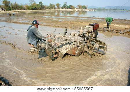 Asian Farmer, Vietnamese Rice Field, Tractor Plough