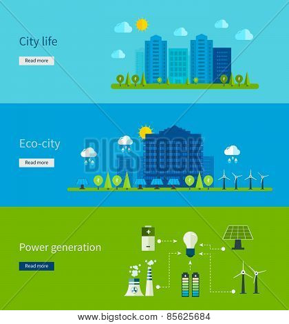 Flat design vector concept illustration with icons of ecology, city life, eco-city, power generation