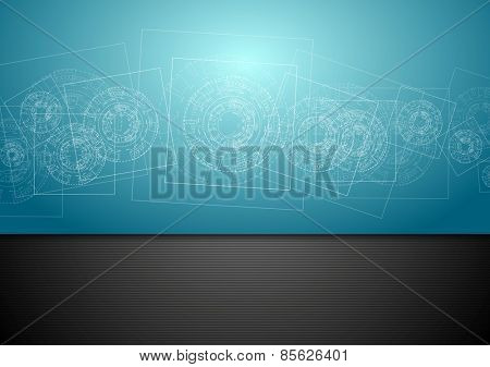 Abstract blue tech engineering background. Vector design