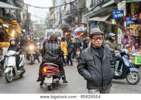 Walking in Hanoi traffic