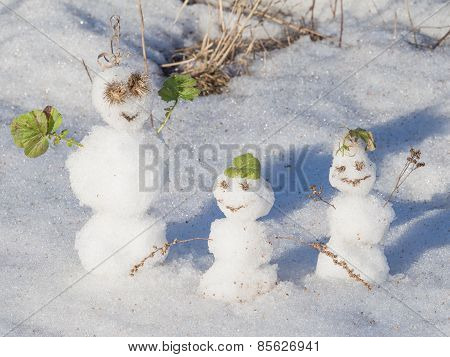 Three Funny Snowman