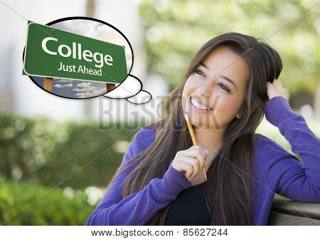 Pensive Young Woman with Thought Bubble of College Just Ahead Green Road Sign.