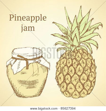 Sketch Pineapple And Jar In Vintage Style