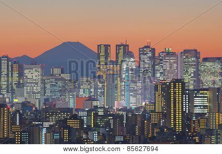 Tokyo cityscape and Mountain fuji