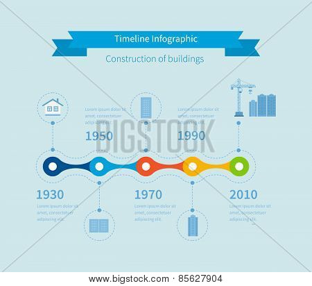Construction buildings illustration infographic elements flat design.