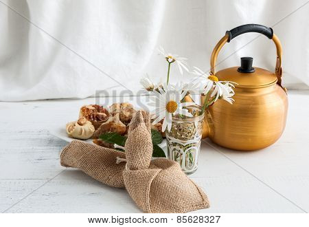 Arabic Teapot On White Wooden Table