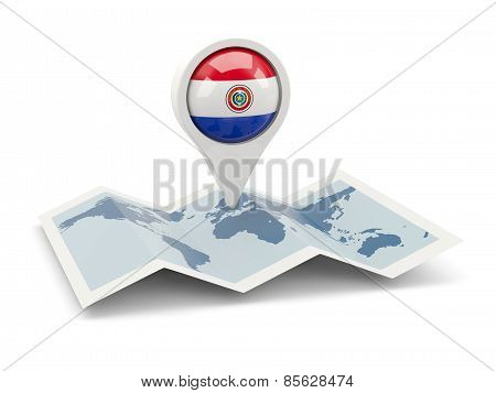 Round Pin With Flag Of Paraguay
