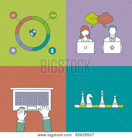 Set of flat design vector illustration concepts for data analysis, strategy planning, communication,