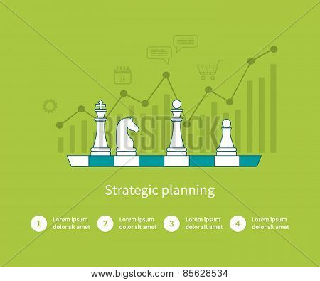 Set of flat design vector illustration concepts for data analysis, strategy planning and successful