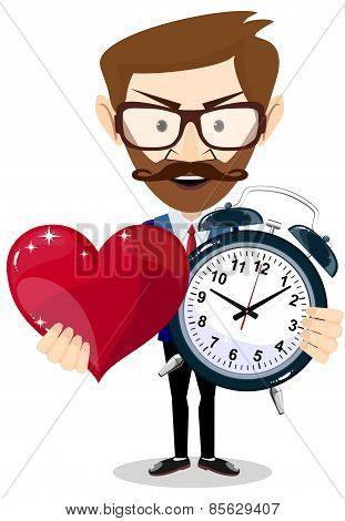 Young man showing a time of love, vector illustration