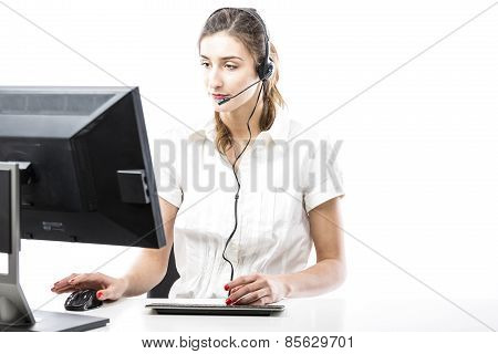 Working In Headset In Front Of Computer
