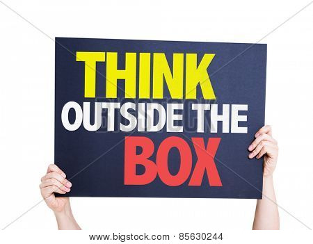 Think Outside the Box card isolated on white