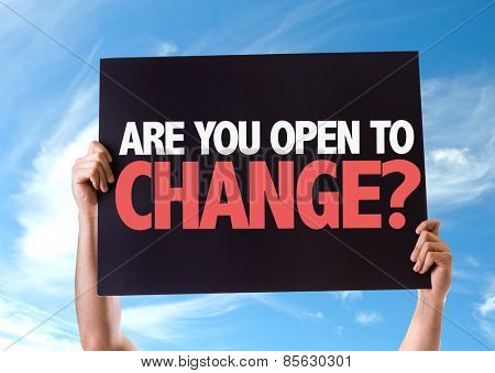 Are You Open to Change? card with sky background