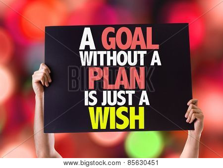 A Goal Without a Plan is Just a Wish card with bokeh background