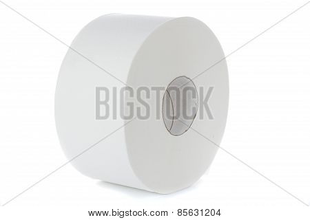 Roll Of Cash Register Paper Tape On White, Isolated