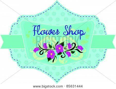 Flower shop label in blue