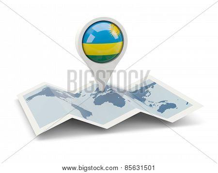 Round Pin With Flag Of Rwanda