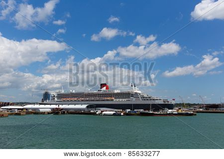 Queen Mary 2 ocean going transatlantic liner and cruise ship at Southampton Docks England UK in summ