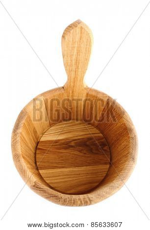 Oaken bucket for sauna, isolated on white