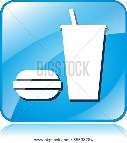 Food Blue Square Icon