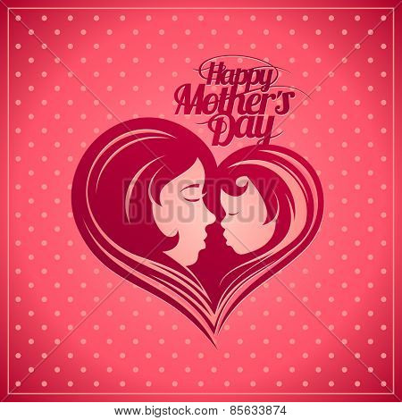 Happy Mothers's Day card with mother and child heart-shaped silhouette in a profile.