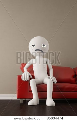 Discontent and unhappy white 3D guy sitting on a couch (3D Rendering)