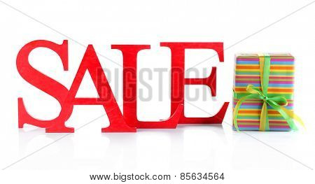 Sale with gift isolated on white