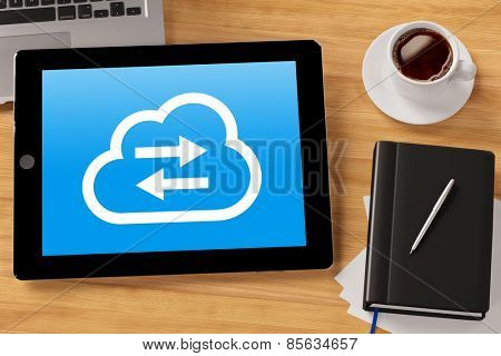 Cloud computing service for online data storage on tablet computer (3D Rendering)