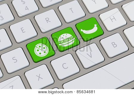 Symbols for online fast food delivery service on a keyboard (3D Rendering)