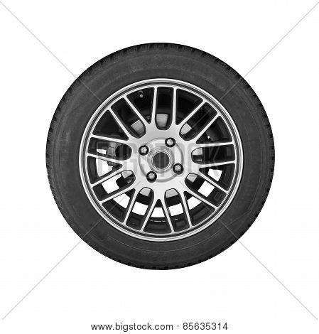 Modern Automotive Wheel On Steel Disc Isolated On White