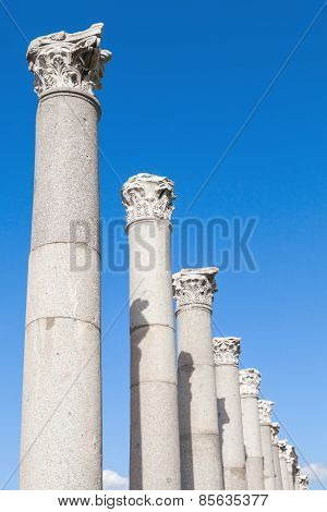 Ancient Columns On Blue Sky Background, Izmir, Turkey
