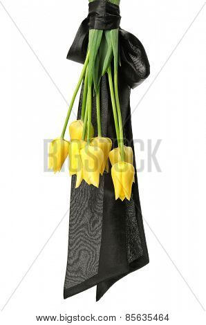 bouquet of yellow flowers for funeral isolated on a white background