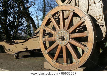 Wooden Wheel Gun Of World War I In The Museum In Italy