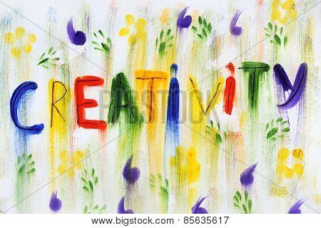 Word creativity written on paper close up