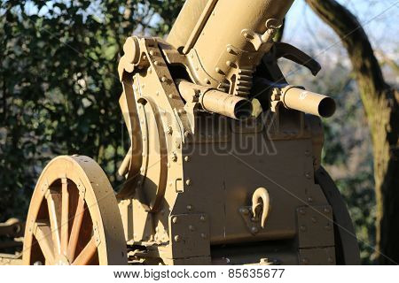 Detail Of Mortar Of World War I With Two Little Guns To Shoot