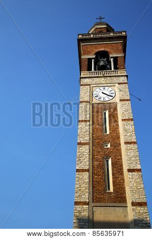 In Gorla  Old Abstract  Wall  And Church Tower Bell Sunny Day