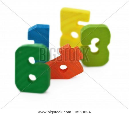 Toy Wooden Color Ciphers, On White
