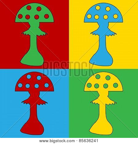 Pop Art Amanita Symbol Icons.