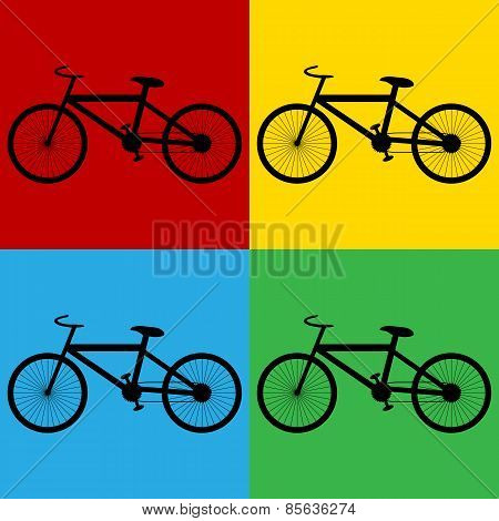 Pop Art Bike Symbol Icons.