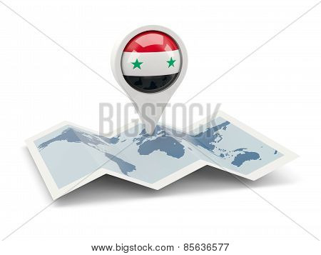 Round Pin With Flag Of Syria